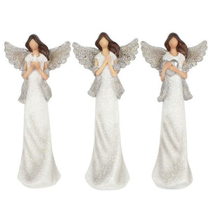 "Set Of 3 White And Silver Glitter Angels ""Peace Prey Love"" Figure Ornament Gift Set"
