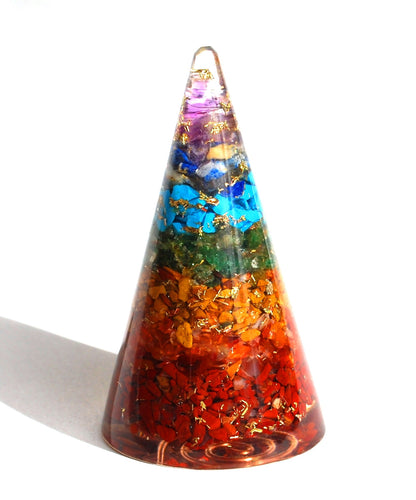 Reiki Charged Large 7 Chakra Orgone Crystal Cone - Krystal Gifts UK