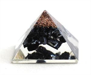 Black Tourmaline Crystal Orgone Pyramid - Krystal Gifts UK