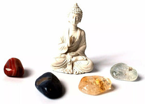 "New! ""Crystals For Prosperity Fortune"" Tumble Stones & Buddha Set"