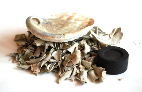 White Sage, Charcoal & Abalone Shell Smudge Burning Kit