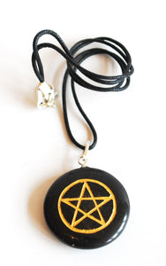 Black Agate Crystal Gemstone Pentagram Pendant Necklace Inc Cord
