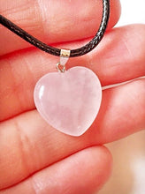 Load image into Gallery viewer, New! Rose Quartz Polished Heart Crystal Stone Pendant Necklace on Black Cord Necklace Gift