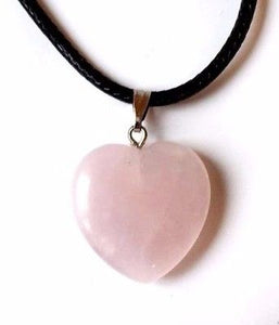 New! Rose Quartz Polished Heart Crystal Stone Pendant Necklace on Black Cord Necklace Gift