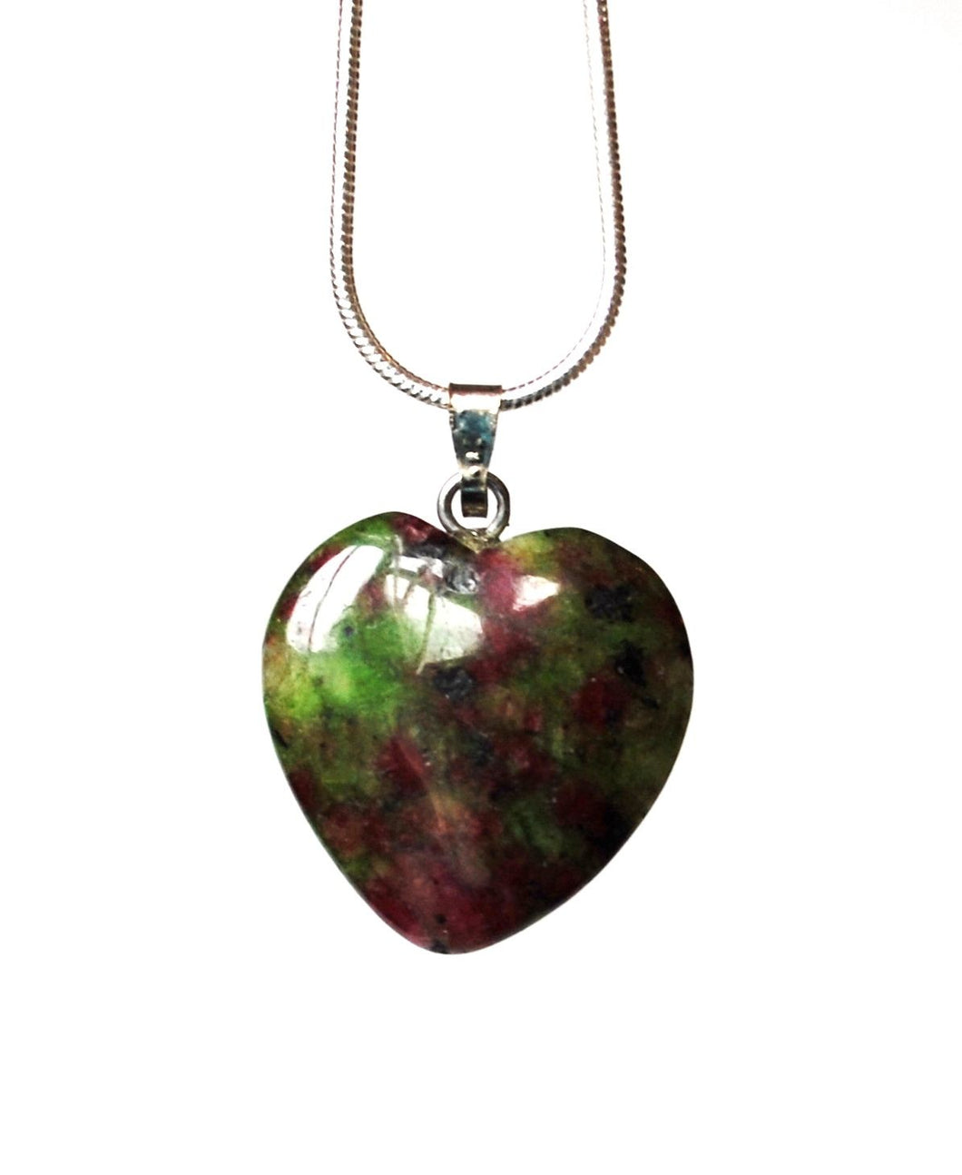 Ruby In Fuschite Crystal Stone Small Heart Pendant Necklace Gift