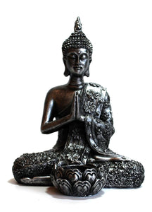 Large Silver Resin Thai Buddha With Candle Holder Colour Gift Present 20.5cm approx - Krystal Gifts UK