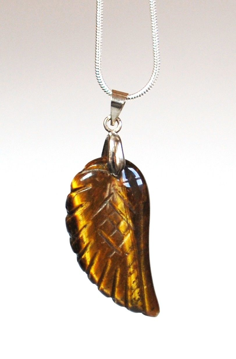 Tigers Eye Crystal Angel Wings Pendant Necklace & Silver Chain