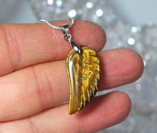 Load image into Gallery viewer, Natural Tigers Eye Crystal Angel Wings Pendant Necklace & Silver Chain