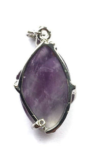 Amethyst Crystal Swirl Pendant Necklace & Silver Chain
