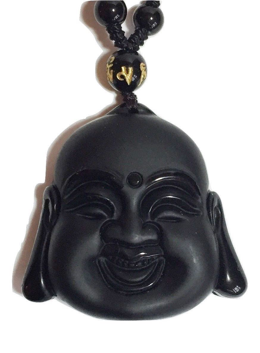 Black Obsidian Smiling Buddha Pendant Necklace Gift