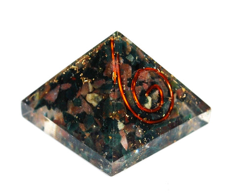 Bloodstone Small  Crystal Chips Orgone Pyramid