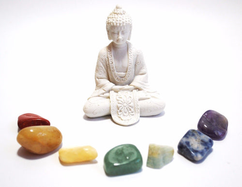 Natural Chakra Tumble Crystal Stone Set Inc White Buddha Set