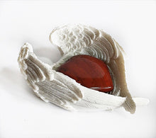 Load image into Gallery viewer, Red Jasper Heart Crystal in Ceramic White Angel Wings Dish Gift Set