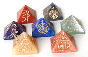 Chakra Engraved Hand Carved Crystal Stone Pyramid Set