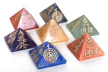 Load image into Gallery viewer, Chakra Engraved Hand Carved Crystal Stone Pyramid Set