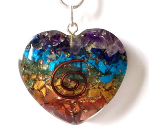 Chakra Orgone Crystal Chips Heart Pendant & Silver Chain