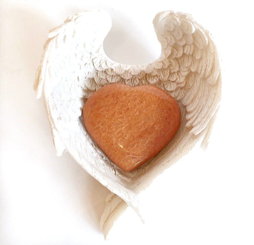 Orange Jade Natural Crystal Stone Heart In Angel Wings Dish Gift