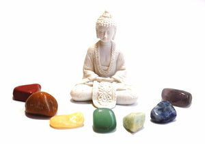 Chakra Tumble Crystal Stone Set Inc White Buddha Set