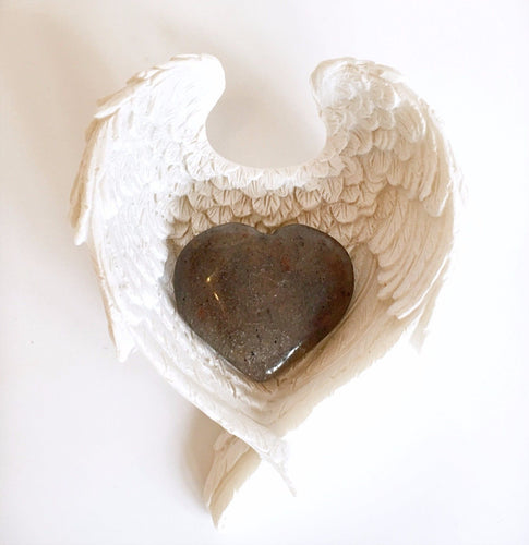 Blue Aventurine Crystal Stone Heart In Angel Wings Dish Gift
