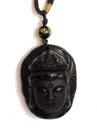 Black Obsidian Crystal Stone Buddha Pendant Necklace Gift - Krystal Gifts UK