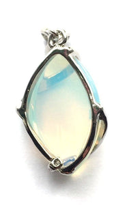 Opalite Crystal Swirl Pendant Necklace & Silver Chain