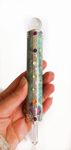 *SALE* Ruby In Fuschite & Clear Quartz Chakra Cabs Natural Healing Wand