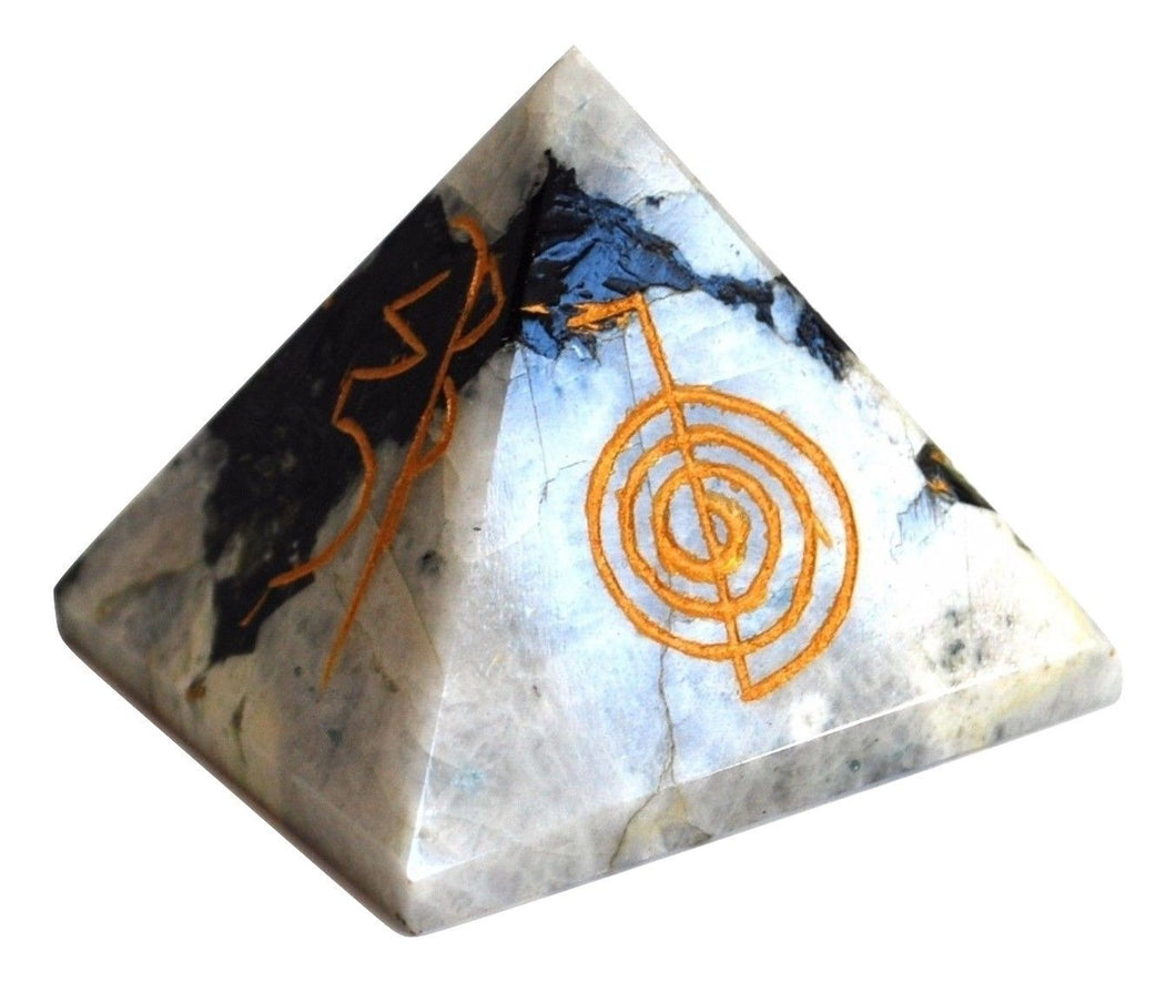 Large Rainbow Moonstone Reiki Symbol Engraved Natural Crystal Healing Pyramid