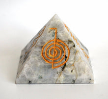 Load image into Gallery viewer, Large Rainbow Moonstone Reiki Symbol Engraved Natural Crystal Healing Pyramid