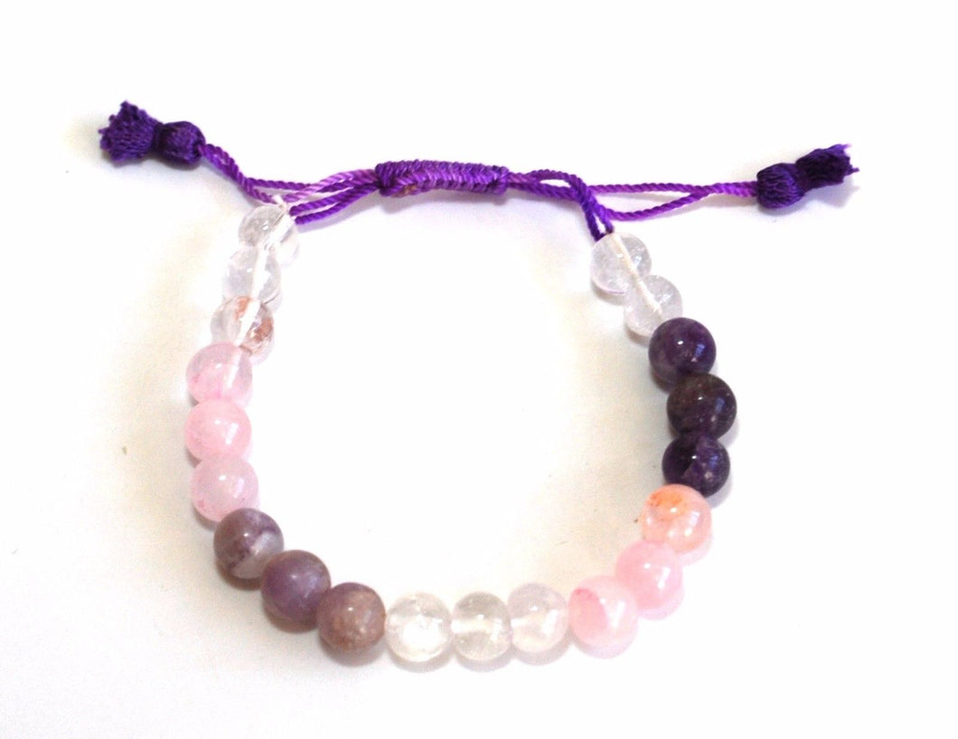 Rose Quartz Amethyst Clear Quartz Crystal Stone Beads Bracelet