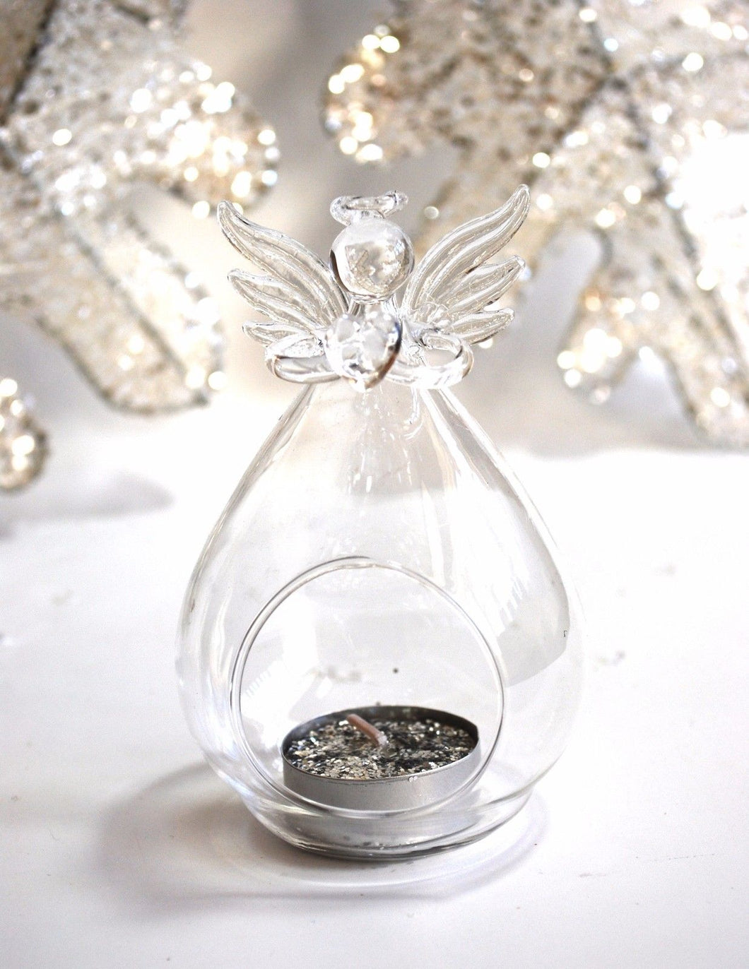 Angel Holding Heart Tealight Holder Glass Vase Decorative Gift