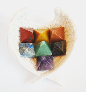 Chakra Pyramid Set In Angel Wings Dish