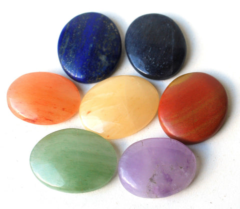 Natural And Unique Chakra Palm Stone Crystal Healing Set Of Seven!