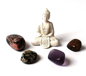 """Crystals for Grounding"" Tumble Stone & Buddha Set"