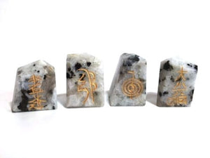 Rainbow Moonstone Reiki Engraved Set Of 4 Chunks Rock Crystal Stone - Krystal Gifts UK