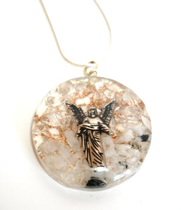 Archangel Gabriel Clear Quartz & Rainbow Moonstone Orgone Crystal Chips Pendant & Silver Chain - Krystal Gifts UK