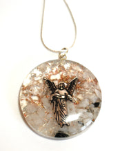 Load image into Gallery viewer, Archangel Gabriel Clear Quartz & Rainbow Moonstone Orgone Crystal Chips Pendant & Silver Chain - Krystal Gifts UK