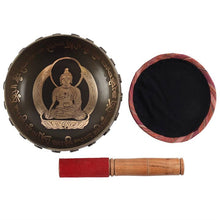 Load image into Gallery viewer, New! Buddha & Sanskrit Singing Bowl, Wooden Striker & Fabric Mat Meditation Set 16cm