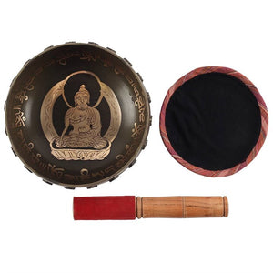 New! Buddha & Sanskrit Singing Bowl, Wooden Striker & Fabric Mat Meditation Set 16cm