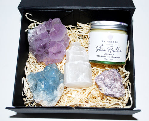 New! Special Offer! Natural Crystals For Sleep With Lavender Shea Butter Boxed Gift Set