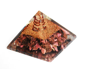 Natural Rhodonite Large Orgone Crystal Pyramid