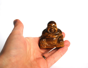 New! Tigers Eye Hand Crafted Crystal Polished Stone Buddha Figure 86g