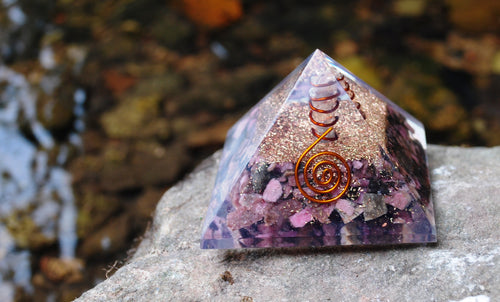 New! Rhodonite Large Orgone Crystal Pyramid