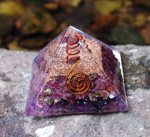 NEW! Ruby Large Orgone Orgonite Crystal Pyramid