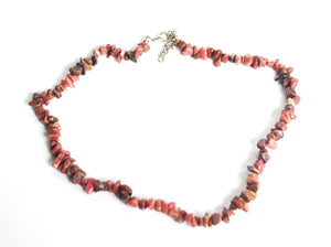 "Natural Rhodonite Crystal Stone Chips 18"" Extendable Necklace"
