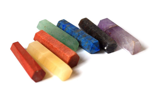 New! Natural Terminated Chakra Crystal Stone Sticks Set