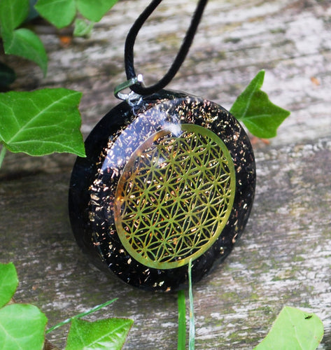 Black Tourmaline Crystal Stone Chips Orgone Flower Of Life Pendant Inc Black Cord