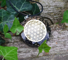 Load image into Gallery viewer, Natural Black Tourmaline Crystal Stone Chips Orgone Flower Of Life Pendant Inc Black Cord