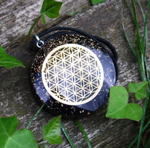 Load image into Gallery viewer, Black Tourmaline Crystal Stone Chips Orgone Flower Of Life Pendant Inc Black Cord
