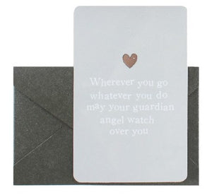 New! Reiju Gift Set 'Wherever You Go, Whatever You Do' Keepsake Card & Clear Jewel Guardian Angel Pin Badge