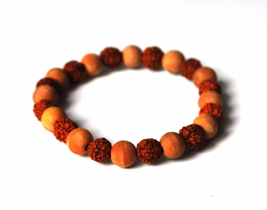 Rudraksha & Sandalwood Beads Bracelet - Krystal Gifts UK